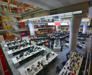 The Newsroom in New Broadcasting House, pictured before the big move