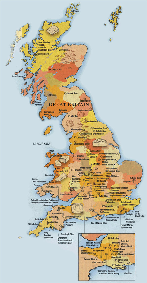 Map of cheeses in Britain