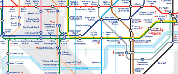 Standard London Tube map with river