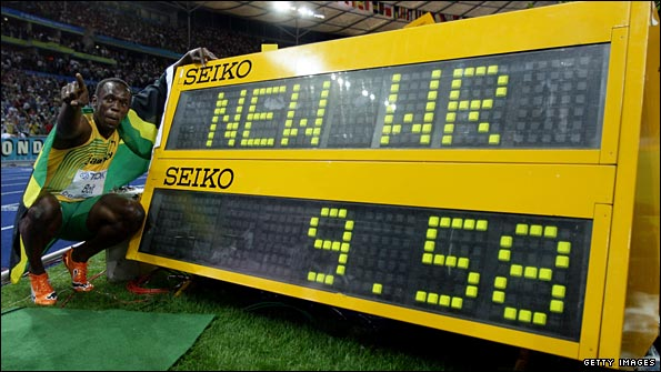Bolt celebrates another world record