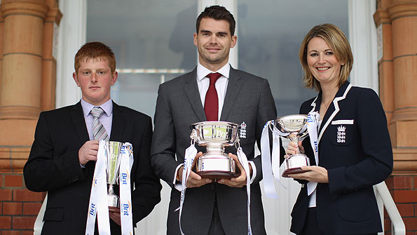 England disability cricketer of the year Callum Rigby, England men's player of the year James Anderson and England women's player of the year Charlotte Edwards