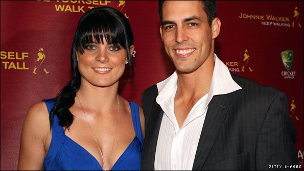 Australia seamer Mitchell Johnson and his girlfriend Jessica Bratich