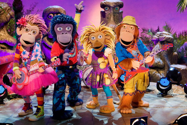 The ZingZillas on set. From left to right: Panzee, Zak, Drum and Tang