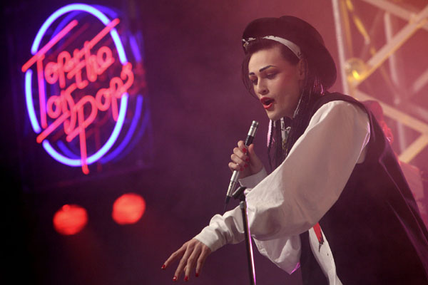 Douglas Booth as Boy George makes his first appearance on Top Of The Pops