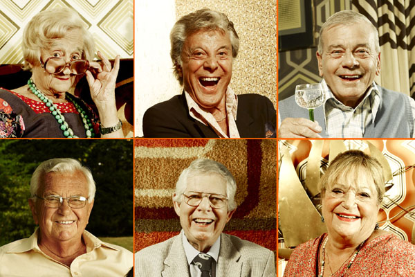 The celebrities: clockwise from top: Liz Smith, Lionel Blair, Dickie Bird, Sylvia Syms, Derek Jameson, Kenneth Kendell