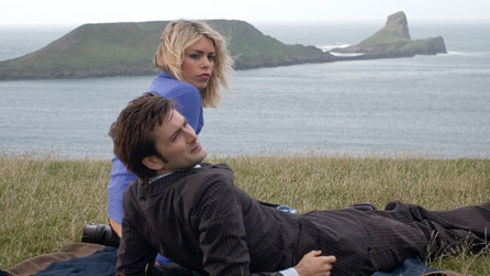 David Tennant as the Doctor and Billie Piper as Rose Tyler on location in the Gower filming Doctor Who: New Earth.