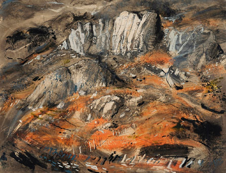 Rocks at Capel Curig, about 1950, ink, watercolour and gouache on paper, private collection © The John Piper Estate