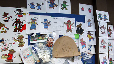 Illustrations of the Rastamouse characters at the Dinamo studios