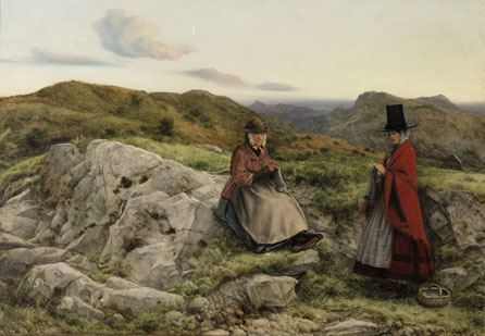 Photograph of William Dyce's Welsh Landscape with Two Women Knitting, 1860 © Amgueddfa Cymru - National Museum Wales.