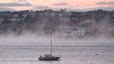 Cleddau River in the fog. Photograph by George Johns.