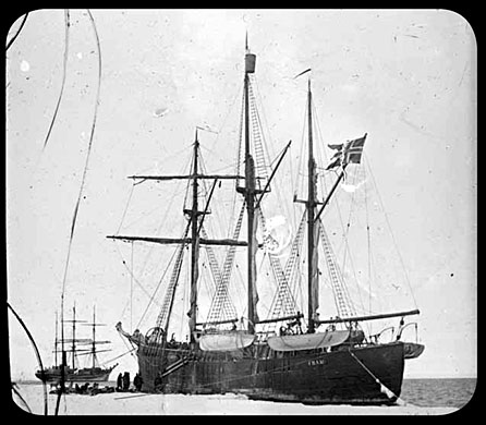 Amundsen's expedition ship Fram and Robert Falcon Scott's Terra Nova in the Bay of Whales, 4 February 1911