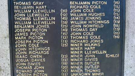 Close up of the Garden Pit Memorial