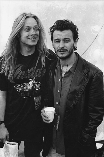 Dave Eringa with James Dean Bradfield, backstage at Reading Festival, 1992