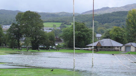 A waterlogged rugby pitch at Dolgellau. Photo: Gwyneth McBurney