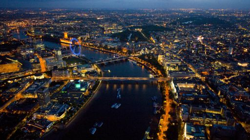 The river thames by night in london