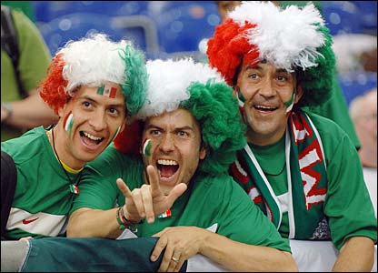 Three Mexico fans show their support