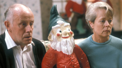 Victor Meldrew, his wife and a gnome