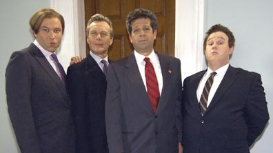 L-R: David Walliams as Sebastian, Tony Head as the Prime Minister, Rolf Saxon as the American President and Matt Lucas as Marvin