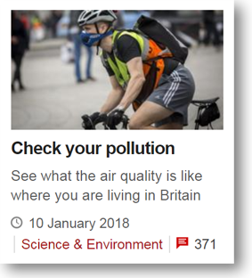 Screenshot of BBC News article showing red comment icon in bottom right corner