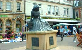 The George Eliot statue at Nuneaton. George Eliot referred to Nuneaton as a place called Milby in her early works.