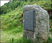 The RD Blackmore memorial stone in Doone Valley