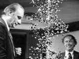 James Watson and the late Francis Crick with a DNA helix model