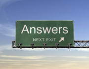 American motorway sign reading 'Answers: next exit'