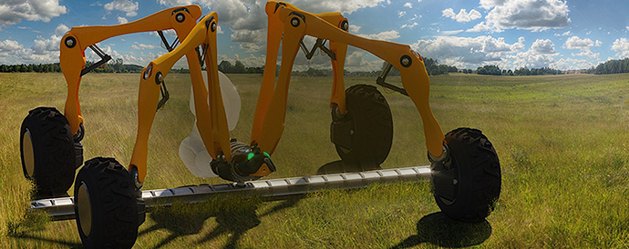 robot that cut grass in action