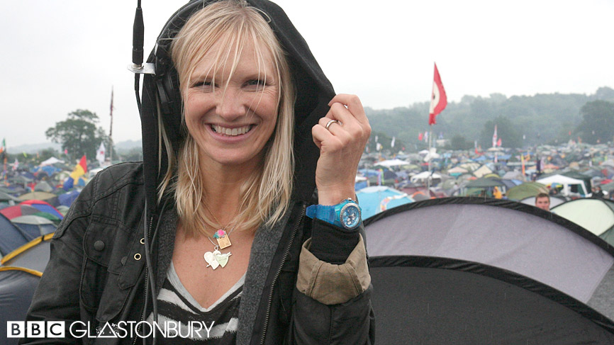 Jo Whiley wearing Choochie Choo with Radio 1 at Glastonbury 2009