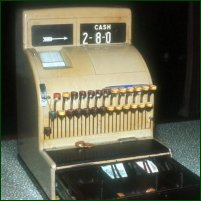 An old-fashioned cash register.