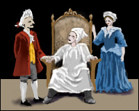 A scene from La Malade Imaginaire by Moliere depicting a king sitting on his throne while still wearing his nightshirt, despite the pleas of his servants to get dressed.
