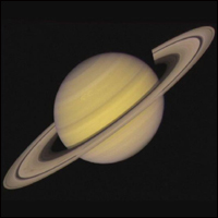 Saturn with its mysterious rings.