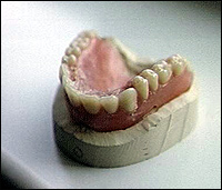 A set of false teeth - presumably not made with real teeth from the Waterloo battlefield.