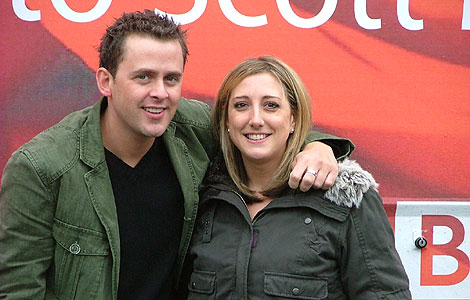 Scott Mills & Laura by the bus.