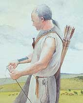 Painting of the Amesbury Archer, with a quiver of arrows