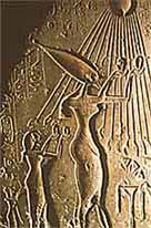 Relief of Akhenaten and his wife Nefertiti worshipping the Aten