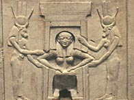 A birth relief showing the assistance of the goddess Hathor on either side