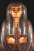 Image of a decorated mummy case for a Egyptian priest