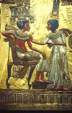 Panel from the back of the golden throne of King Tut.