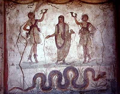 ...живописи: стенная роспись в Помпеях, в христианских катакомбах...