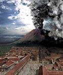 A CGI image showing Vesuvius erupting behind Pompeii