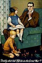 Recruitment poster showing father and two children. Caption reads 'Daddy, what did you do in the Great War?'