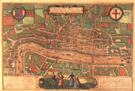 detail of map showing view of London in 1575