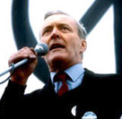 MP Tony Benn delivering a speech at a CND rally