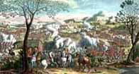 Battle of Culloden - a contemporary coloured print giving an artists impression