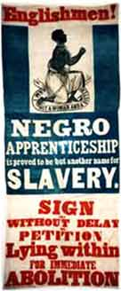 Photograph showing an anti-slavery banner for the promotion of the immediate abolition of slavery