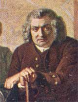 Detail from a painting of Dr Johnson leaning on his stick