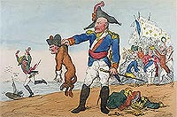 'Cartoon showing Blücher the Brave extracting the Groan of Abdication from the Corsican Bloodhound