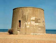 Photograph showing the Martello Tower at Langney Point near Eastbourne