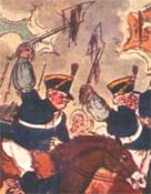 Detail depicting a scene from the Peterloo Massacre painted by George Cruikshank